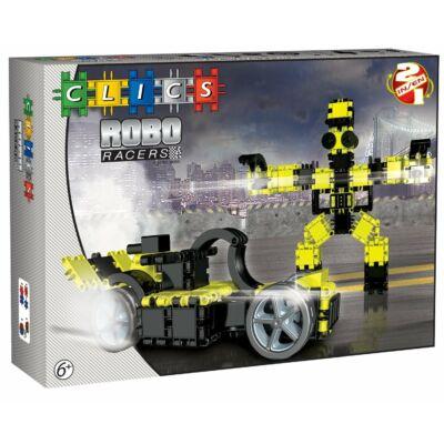 Robotos építőjáték 6 éves kortól - sárga,  RoboRacer box black and yellow - 2 in 1 - Clics