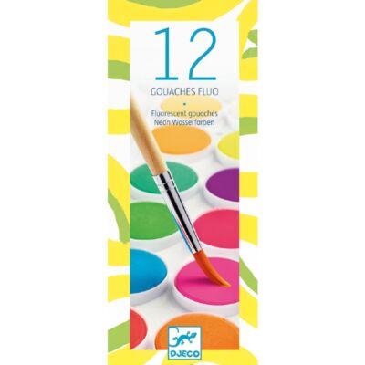 12 neon színű festék,vízfesték - Djeco