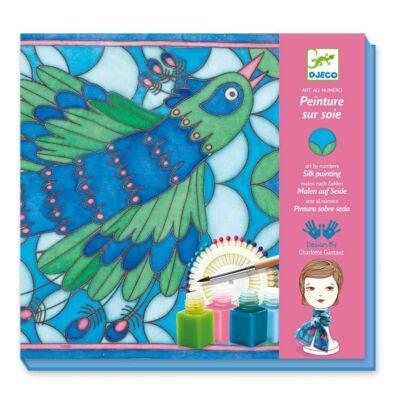 Páva selyemfestő készlet,  Silk Printing Peacock 9-15 éves korig - Djeco