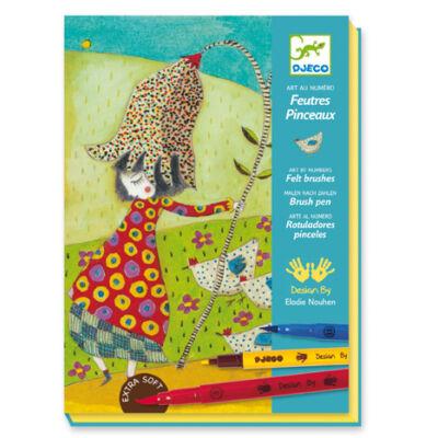 Virágokkal - With Flowers, kreatív szett filctollal 7-13 éves korig - Djeco