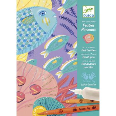 Víz alatt - Under the Sea, képkészítés filctollal és festékkel 7-13 éves korig - Djeco