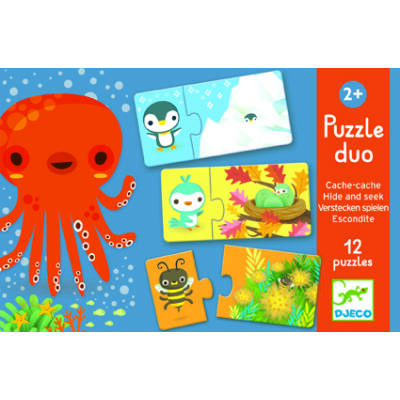 Hide and Seek, Bújócska - párosító puzzle, kirakó 2 éves kortól - Djeco