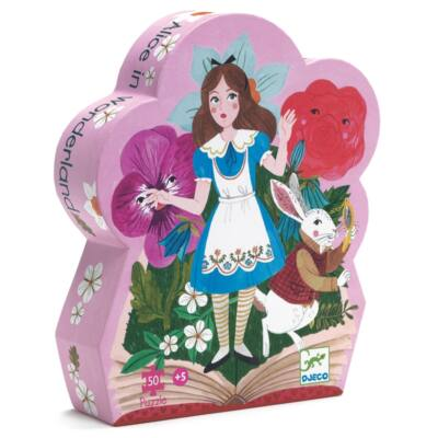 Alice csodaországban - Alice in wonderland 50 db-os formadobozos puzzle, kirakó 5 éves kortól - Djeco