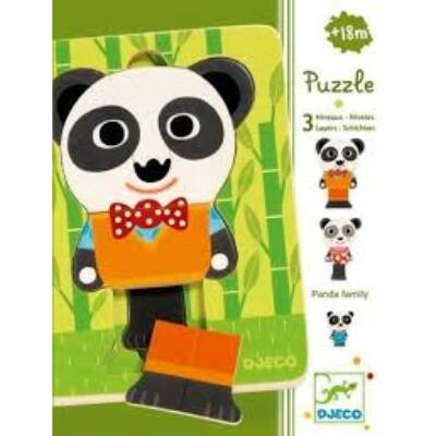 Háromrétegű puzzle, Panda család 18 hónapos kortól - Djeco