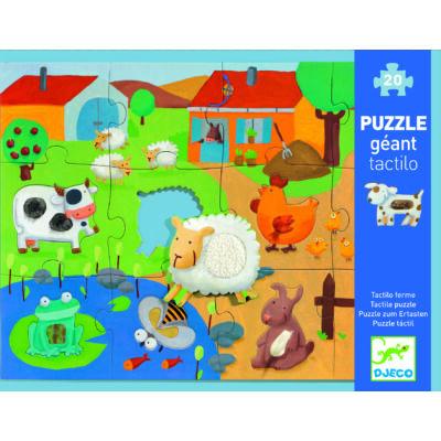 Simogatós óriás puzzle, kirakó 20+8 db-os - Tactile farm puzzle 3 éves kortól - Djeco