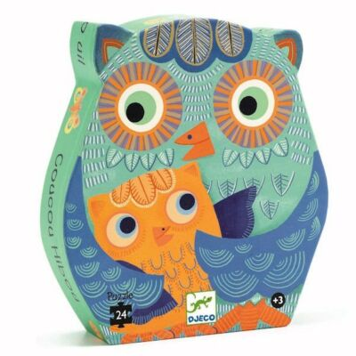 Hello Bagoly, Hello Owl 24 db-os formadobozos puzzle, kirakó 3 éves kortól - Djeco