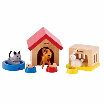 Házikedvencek fából babaházhoz, Happy Family family pets 3 éves kortól - HAPE