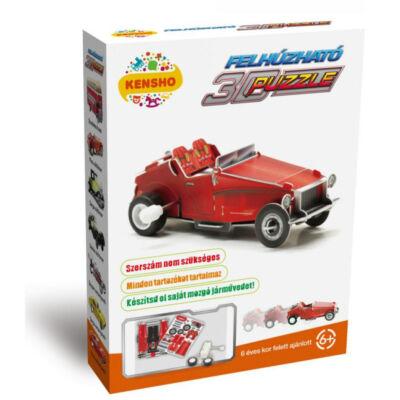 Piros oldtimer autó, felhúzható 3D puzzle - Hope Winning