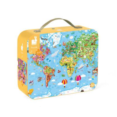 Állatos világtérkép mágneses puzzle, kirakó 201 db-os - Janod