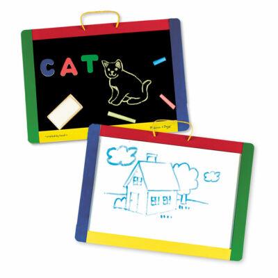 Hordozható mágneses kétoldalú fa rajztába, Magnetic Chalkboard/Dry Erase Board  3 éves kortól - Melissa & Doug