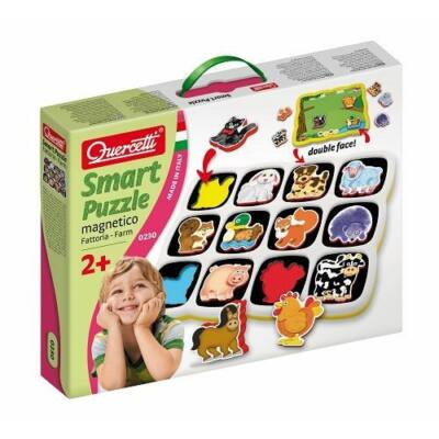 Háziállatos okos puzzle, Smart puzzle Farm - 12 darabos mágneses kirakó 2 éves kortól - Quercetti