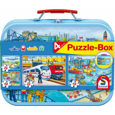 Járműves Puzzle-Box 4 db kirakóval, puzzle 3 éves kortól - Schmidt Spiele