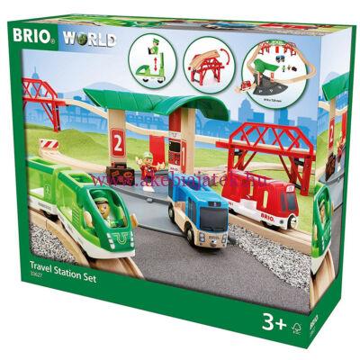 Utasszállító szett busz állomással, Travel Station Set 3 éves kortól - BRIOyvonat és út szett, Rail and Road Travel Set 3 éves kortól - BRIO