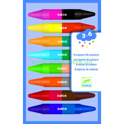 Duplavégű zsírkréta, 8db - 8 twins crayons - Djeco design by