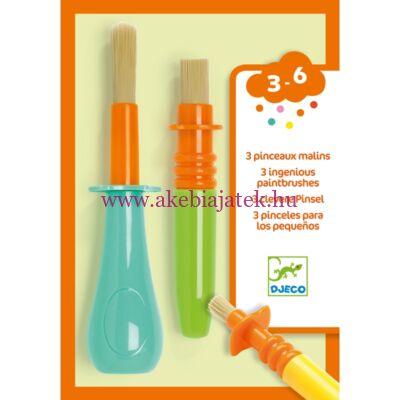Ecset készlet gyerekeknek, 3 fajta - 3 ingenious paintbrushes - Djeco design by