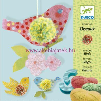 Pompon madárkák, 3 birds pompons - Djeco design by