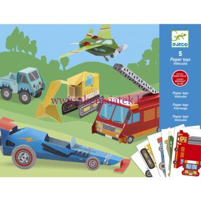 Síkból térbe formálás - Papírjárművek - Paper Trucks 6-11 éves korig - Djeco