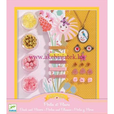 Ékszerkészítő készlet - Gyöngyök és virágok - Pearls and flowers 8-14 éveseknek - Djeco