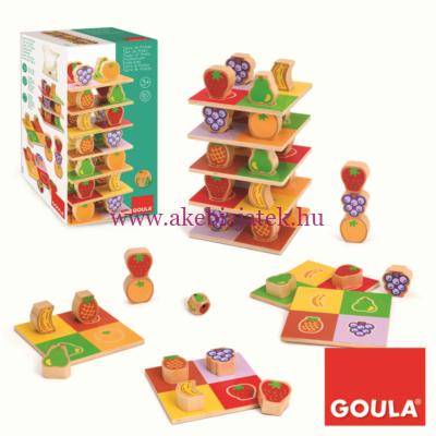 Gyümölcstorony építő, logikai és egyensúlyozós játék, Fruit Tower - Goula