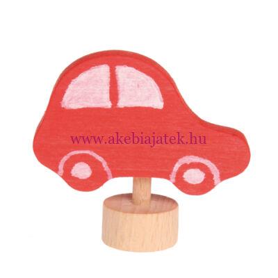 Grimm's - Festett fa gyertya piros autó - Grimm's