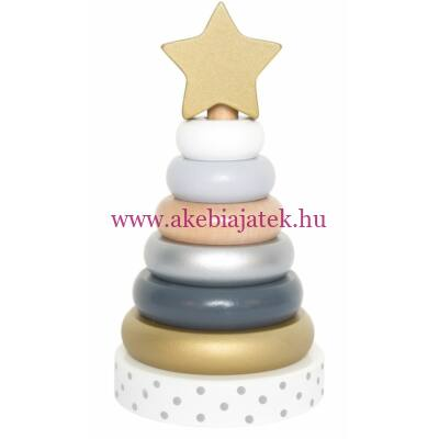 Toronyépítő fajáték, Ezüst - Stacking toy silver - JaBaDaBaDo