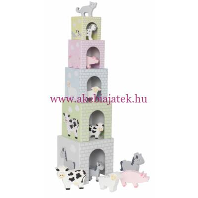 Toronyépítő kocka háziállatokkal - Stacking cubes animal - JaBaDaBaDo