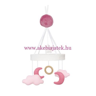 Zenélő kiságyforgó pink holdacska - Music mobile cloud/moon pink - JaBaDaBaDo
