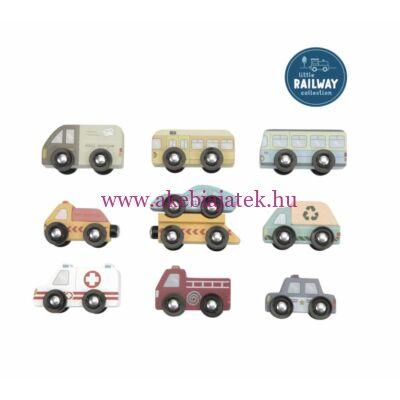 Kisautó készlet, kiegészítő - Railway extension - Vehicles Set - Little Dutch
