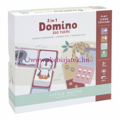 Dominó és kirakó egyben, állatkert - Domino puzzle Zoo 2in1 - Little Dutch