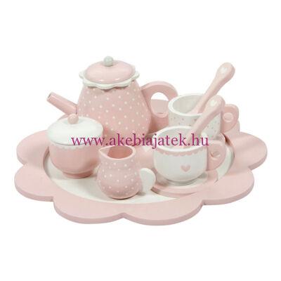Teáskészlet fából, pink - Wooden tea set, pink - Little Dutch