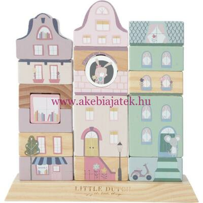 Kisváros építőkockák - felfűzhető, Stacking wooden blocks - Adventure Pink - Little Dutch