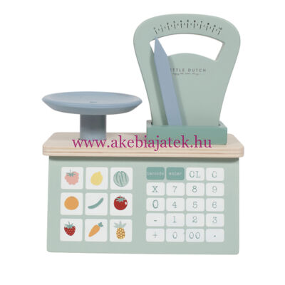 Mérleg fából, menta - Wooden weighting scales, mint - Little Dutch