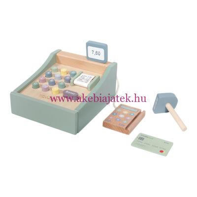 Pénztárgép fából, menta - Wooden toy cash register with scanner, mint - Little Dutch