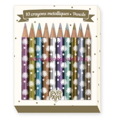 10 db mini metál színű ceruza - 10 Chichi mini metallic pencils - Djeco - Lovely Paper