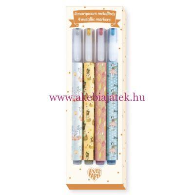 4 db metál színű filctoll - 4 Elodie metallic markers - Djeco - Lovely Paper