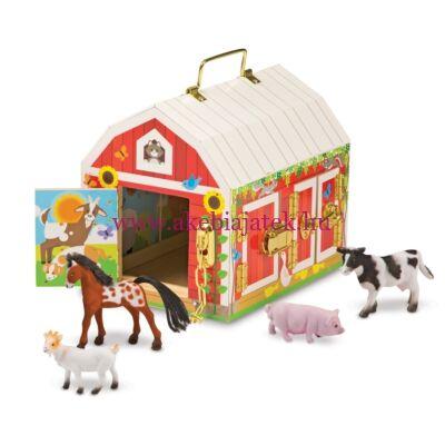 Istálló zárakkal és állat figurákkal, Wooden laches barn - Melissa & Dough