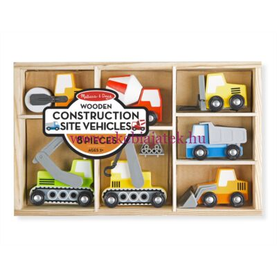 Munkagépek dobozban 7 db, Wooden Construction Site Vehicles - Melissa & Doug