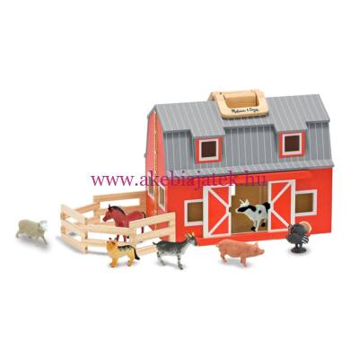 Hordozható, összecsukható állatfarm házi állatokkal  -  Melissa & Doug