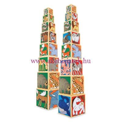 Toronyépítő állatos kocka fából, Wooden Animal Nesting Blocks 2 éves kortól - Melissa & Dough