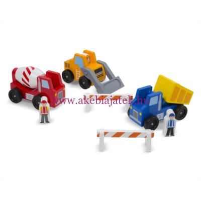 Munkagép szett fából, Classic Wooden Toy Construction Vehicle Set - Melissa & Doug
