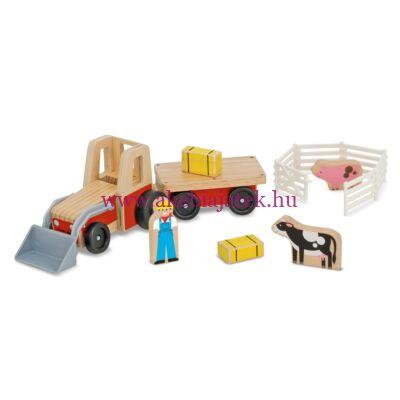 Traktoros farm szett fából, Classic Wooden Farm Tractor Play Set - Melissa & Doug