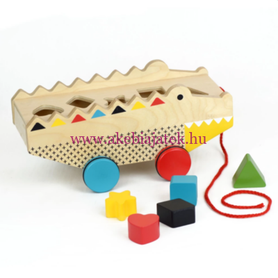 Formabedobó és húzós játék fából - Rock + roll alligator - Petit Collage