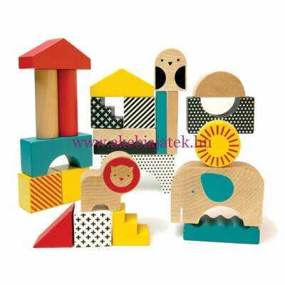 Állatváros fa kockák- Animal Town wooden blocks - Petit Collage