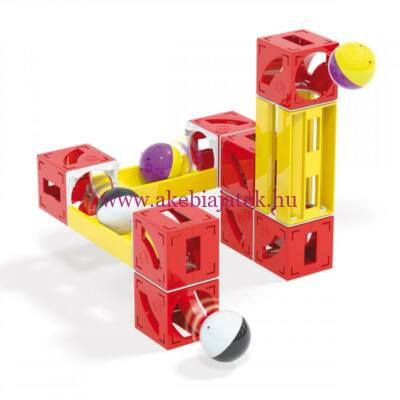 Cuboga kocka golyópálya, 28db - Cubes & tubes marble run - 3 éves kortól - Quercetti