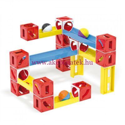Cuboga kocka golyópálya, 50db - Cubes & tubes marble run - 3 éves kortól - Quercetti