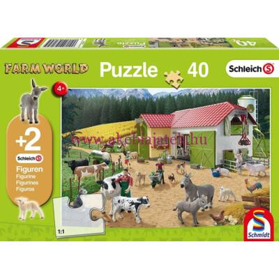 Farm World Puzzle, kirakó 2 db Schleich figurával 2 éves kortól - Schmidt Spiele