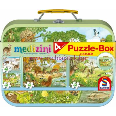 Állatos Puzzle-Box 4 db kirakóval, puzzle 3 éves kortól - Schmidt Spiele
