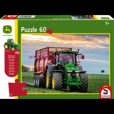 Traktoros kirakó + Siku 7530 traktor figura, John Deere 8370R - Schmidt Spiele