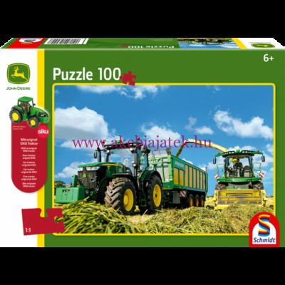 Traktoros kirakó + Siku 7530 traktor figura, John Deere 7310R és 8600i - Schmidt Spiele