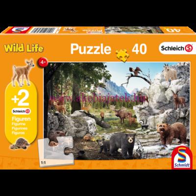 Wild Life Puzzle, 40db kirakó 2 db Schleich figurával - Schmidt Spiele